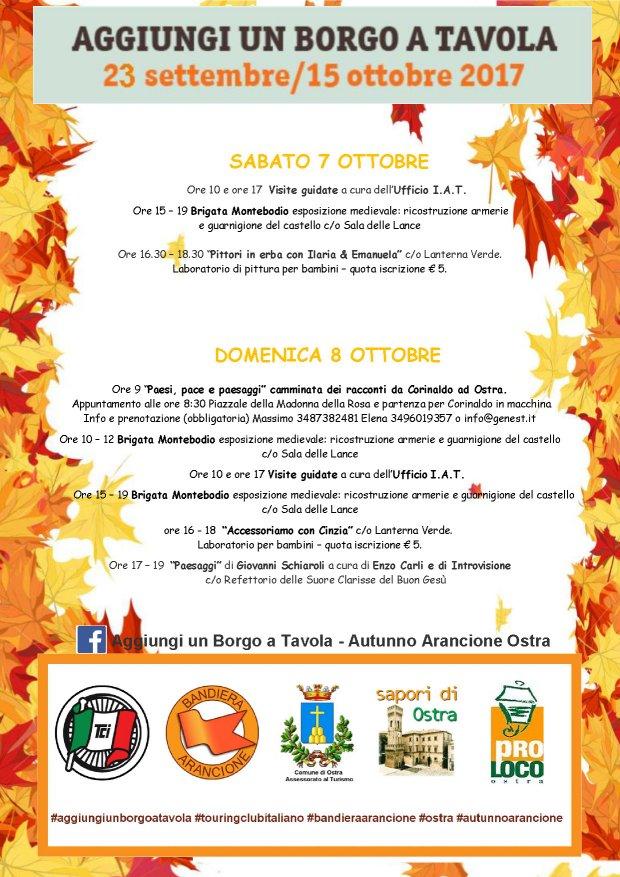 Un mese per gustare l'Italia dei borghi Bandiera Arancione - Programma del 7 e 8 ottobre 2017