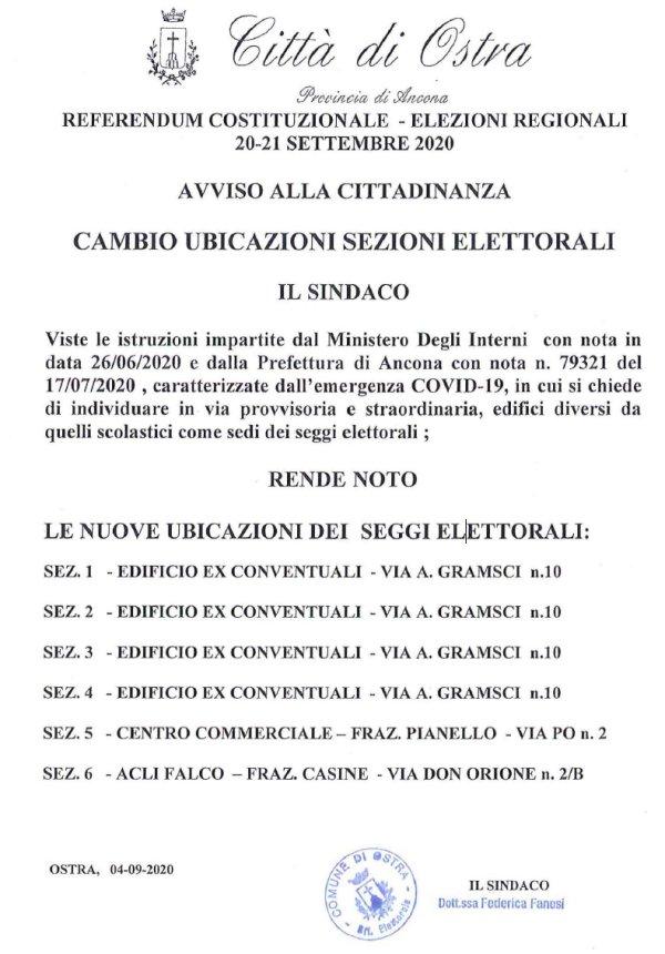 AVVISO ALLA CITTADINANZA - CAMBIO UBICAZIONI SEZIONI ELETTORALI