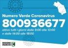 Di nuovo attivo da domani il numero verde regionale 800936677 per informazioni sul Covid-19