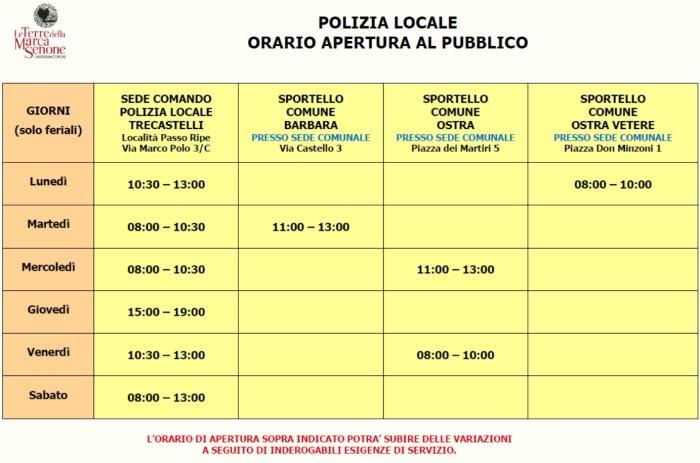 Orario apertura al pubblico Polizia Locali Unione valido dal 7 SETTEMBRE 2020