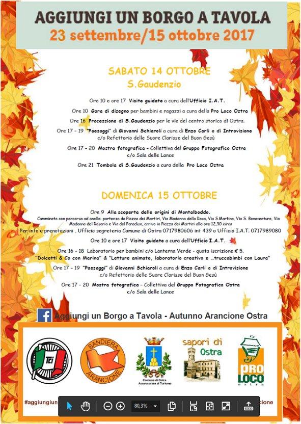 Un mese per gustare l'Italia dei borghi Bandiera Arancione - Programma del 14 e 15 ottobre 2017